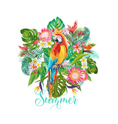 tropical flowers and parrot bird background vector image