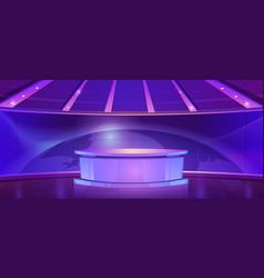 Tv news studio television broadcast set room vector