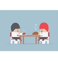 Two businessmen sitting at dinning table with big vector image