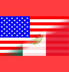 Usa and mexican flag blend vector
