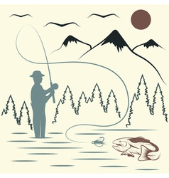 Vintage of fishing theme vector