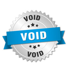 Void 3d silver badge with blue ribbon vector