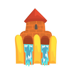 Water slides in the form of a castle aquapark vector
