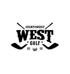 western golf logo design vintage retro crossed vector image