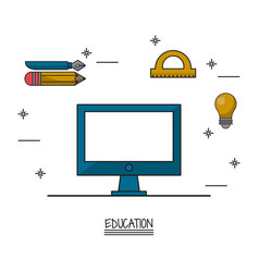 white background poster of education with computer vector image