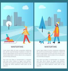 wintertime city activities vector image
