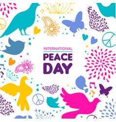 world peace day card of dove bird icon decoration vector image