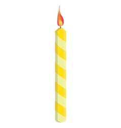 Yellow birthday candle vector image