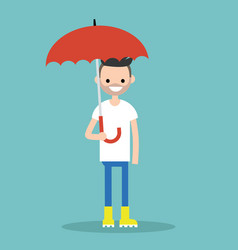 Young smiling character with umbrella wearing vector
