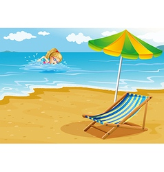 A girl swimming at the beach with a chair and an vector image vector image
