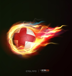 England flag with flying soccer ball on fire vector
