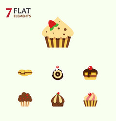 flat cake set of sweetmeat cupcake dessert and vector image vector image