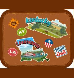 kentucky louisiana travel stickers vector image vector image