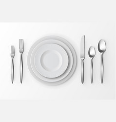 set of silver forks spoons and knifes plates vector image
