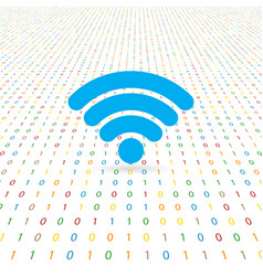 symbol of network wifi on a digital background vector image vector image