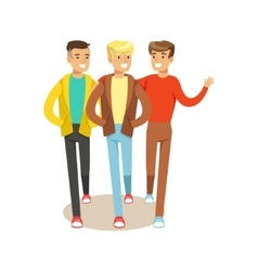 Three Happy Best Friends Going Out Part Of vector image