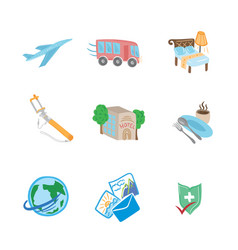 travel flat sketch icons vector image vector image