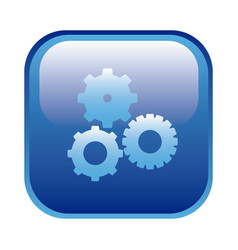 blue square frame with pinions set icon vector image