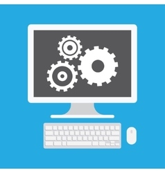 Computer Display and Gear Icon vector image vector image
