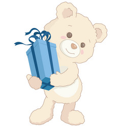 cute little teddy bear holding a blue present vector image