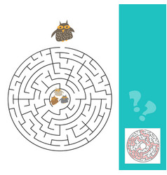 funny owls labyrinth game for preschool children vector image vector image