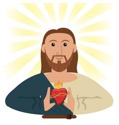 jesus christ sacred heart spiritual symbol vector image vector image