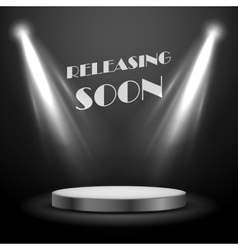 Realistic Spot Light Effect Releasing Soon Poster vector image vector image