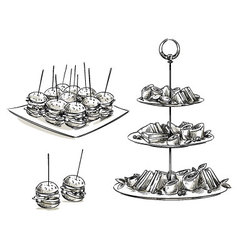 Set of snacks on a tray vector image