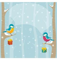 birds in winter forest vector image