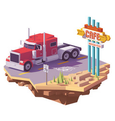low poly american classic semi truck vector image