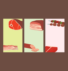 meat products set of cartoon cards delicious vector image vector image