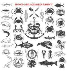 seafood menu labels set Design elements for logo vector image vector image