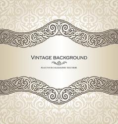 Vintage style cream invitation card vector image