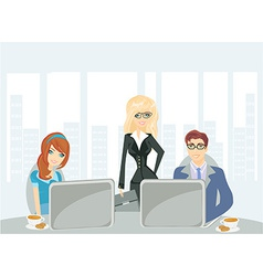 A meeting in a conference room vector image vector image