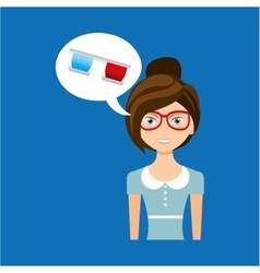 beautiful girl concept cinema movie glasses icon vector image