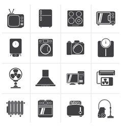 Black home appliances and electronics icons vector image