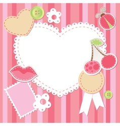 cute pink scrap set vector image vector image
