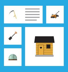 flat icon garden set of lawn mower cutter spade vector image