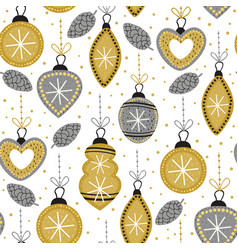 seamless pattern with gold christmas decorations vector image vector image