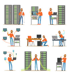 young man working in network server room vector image vector image