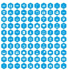 100 success icons set blue vector image