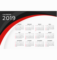 2019 modern red wavy calendar template design vector image