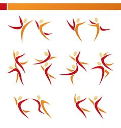 abstract human logo template set vector image