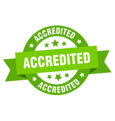 accredited ribbon accredited round green sign vector image