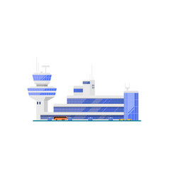 Airport terminal with flight control tower vector