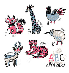 Animals alphabet f - k for children vector