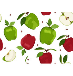 apple seamless pattern and slice dropping vector image