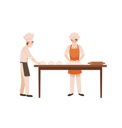 Bakers at work flat bakery vector