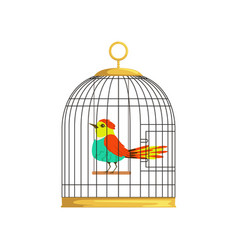 Beautiful character of colorful bird in cage vector