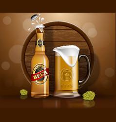 beer bottle and mug wooden barrel land hop vector image